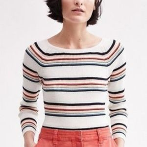 Anthropologie Moth Striped Boatneck Piper Sweater
